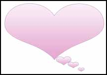 Pink heart thought bubble